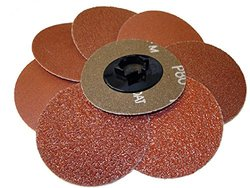 "Griton QA13036 3"" Quick Change Sanding Disc, Industrial Grade, 36 Grit, Brown (Pack of 25)"