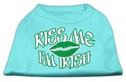 "Mirage Pet ""Kiss Me I'm Irish"" ScrPrint Dog Shirt - Aqua - Size: XL (16)"