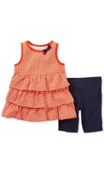 Carter's Girls 2 Piece Orange Print Ruffle Tank Top and Short Set - Toddler