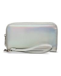 Caseen Women's Iridescent Cell Phone Case Wallet - Silver