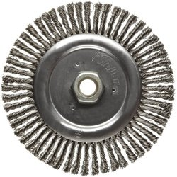 "Weiler Dualife Narrow Face Wire Wheel Brush, Threaded Hole, Stainless Steel 302, Stringer Knotted, 6"" Diameter, 0.020"" Wire Diameter, 5/8-11"" Arbor, 1-1/8"" Bristle Length, 3/16"" Brush Face Width, 12500 rpm"