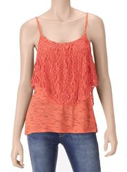 Self Esteem Junior's Layered Lace Ruffle Cami Tank Top - Coral - Size: XL