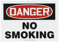 "Accuform Signs MSMK133VA Aluminum Safety Sign, Legend ""DANGER NO SMOKING"", 10"" Length x 14"" Width x 0.040"" Thickness, Red/Black on White"