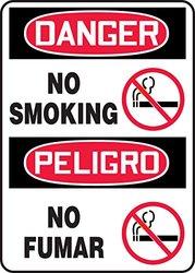 Danger No Smoking Sign, 14 x 10In, PLSTC
