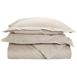 1500 Thread Count Full/Queen Duvet Cover Set, Solid, Single Ply, Stone