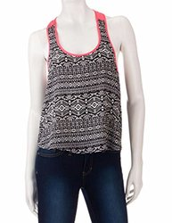 Justify Juniors Printed Tank Top - Black/White - Size: Large