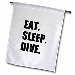 "3dRose fl_180395_2 ""Eat Sleep Dive - Passionate About Diving - High Board, Scuba Diver"" Garden Flag, 18 x 27"""