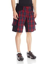 BDI Men's Mountain Bike Active Shorts, Red Plaid, Large