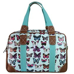 Miss Lulu Women's Oilcloth Butterfly Design Travel Bag  - Light Blue