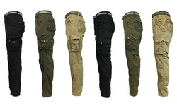 Galaxy By Harvic Men'sbelted Vintage Cargo Utility Pants: Khaki/38x32