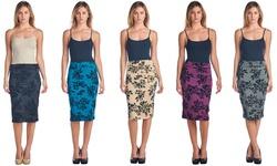 Popana Mid Length High Waist Women's Pencil Skirt - Cream - Size: Medium