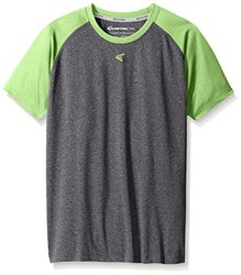 Easton Boys Raglan Performance T-Shirt - Charcoal/Torq Green - Size: L