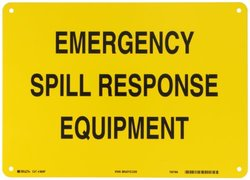 "Brady 96087 14"" Width x 10"" Height B-555 Aluminum, Black on Yellow Chemical and Hazardous Materials Sign, Legend ""Emergency Spill Response Equipment"""