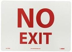 "NMC GL199RB Fire Sign, Legend ""NO EXIT"", 14"" Length x 10"" Height, Glow Rigid, Red on Yellow"