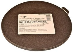 Sungold Abrasives 338057 60 Grit 8-Inch X-Weight Cloth Premium Industrial Aluminum Oxide PSA Stick-On Discs For Stationary Sanders, 10 Discs/Pack