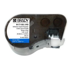 "Brady M-171-593-.5-RD Foam Backed Polyester B-593 White on Red Label Maker Cartridge, 31/64"" Width x 1-19/32"" Height, For BMP51/BMP53 Printers"