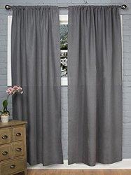 "Rizzy Home Window Single Curtain Panel 96""x50"" - Charcoal"