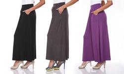 White Mark Women's A Line Maxi Skirt w/ Pocket - Charcoal - Size: XL
