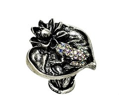 Carpe Diem Hardware 2571-9-78 In The Garden Chalice Lily Pad & Frog Large Knob with Swarovski Crystals