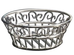"American Metalcraft 9"" Round Stainless Steel Scroll Bread Basket"