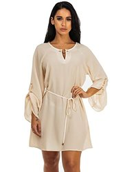 Womens Juniors Chiffon Belted Tunic Dress with Belt - Beige - Size: 15