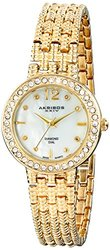 Akribos Ladies Diamond and Mother of Pearl Bracelet Watch-Gold Band
