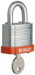 "Brady Steel Lockout/Tagout Padlock, Keyed Different, 1-1/3"" Body Length, 3/4"" Shackle Clearance, Orange (Pack of 6)"