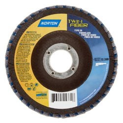 "Norton RedHeat Abrasive Flap Disc, Type 29, Threaded Hole, Fiberglass Backing, Ceramic/Zirconia Alumina, 7"" Dia., 60 Grit (Pack of 1)"