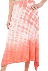 Gloria Vanderbilt Women's Juno Tie Dye Maxi Skirt-Medium Coral Nectar Orange