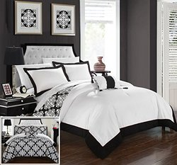 Chic Home 4 Piece Trina Black and White REVERSIBLE Hotel Collection Queen Duvet Cover Set Black