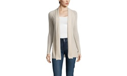 Forte Women's Cashmere Ribbed Front Cardigan - Almond - Size: Large