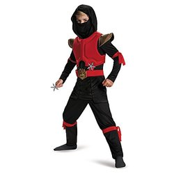Disguise 80588L Fire Ninja Deluxe Costume - Red/Black - Size: Small (4-6)
