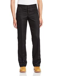"""Dickies Occupational Workwear FP831BK 24RG Polyester Relaxed Fit Women's Micro Denier Executive Pant with Straight Leg, 24 Regular, 31-1/ 2"""" Inseam, Black"""