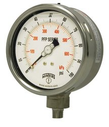 "Winters PFP Series Premium Stainless Steel 304 Dual Scale Liquid Filled Pressure Gauge, 0-5000 psi/kpa, 2-1/2"" Dial Display, +/-1.5% Accuracy, 1/4"" NPT Bottom Mount"