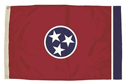 Flagzone FZ-2412051 3x5 Nylon Tennessee Flag Heading red