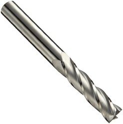 "Niagara Cutter N55683 Carbide Square Nose End Mill, Inch, Uncoated (Bright) Finish, Roughing and Finishing Cut, 30 Degree Helix, 4 Flutes, 6"" Overall Length, 0.250"" Cutting Diameter, 0.250"" Shank Diameter"