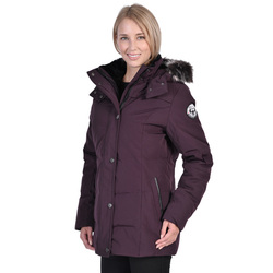 Nuage Women's Down Coat with Fur Trim - Wine - Size: Large