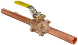 """Apollo 82-200F1 Series Bronze Ball Valve with Brazed Extensions And One Gauge Port, Three Piece, Inline, Lever, 1"""" Solder End"""