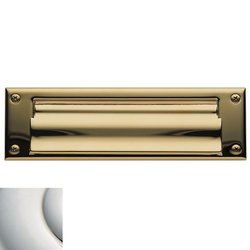 Polished Nickel Magazine Sized Spring Tension Brass Letter Box Plate 0050