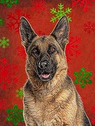 Caroline's Treasures KJ1187CHF Red Snowflakes Holiday Christmas German Shepherd Flag Canvas, Large, Multicolor
