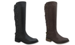 Yoki Women's Alicia-03 Quilted Boots - Brown - Size: 8.5