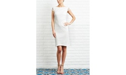 Kasper Women's Knit Crochet Lace A-line Cap Sleeve Dress - Ivory - Size: 8