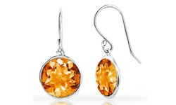 Sterling Silver 3.0 CTTW Women's Citrine Lollipop Earrings