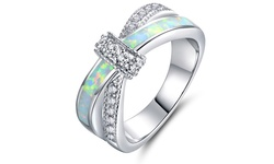 Brilliant 18K White Gold Fire Opal Cross Ring - Size: 8