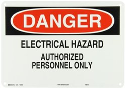 "Brady 40656 Aluminum Admittance Sign, 10"" X 14"", Legend ""Electrical Hazard Authorized Personnel Only"""