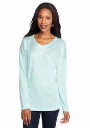 New Directions Foil Mini Dot Top - Green/Mint - Size: Large