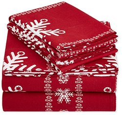 AmazonBasics Printed Lightweight Flannel Sheet Set - Queen, Snowflake Bordeaux