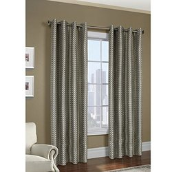 """Common Wealth Home Fashions Belgard Woven Geometric Panels, 50 x 108""""  PEWTER"""