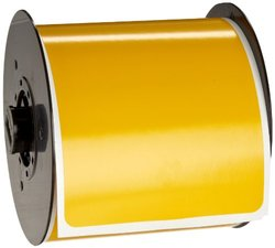 "Brady B30-25-595-BLNKYL 4"" Height x 6"" Width, B-595 Indoor/Outdoor Vinyl, Yellow BBP31 Pre-Printed Pre-Cut Labels Tape with Sign Headers, 175 per Roll"