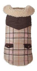 """Fab Dog Wool Plaid Shearling Dog Jacket, Camel, 14"""" Length"""